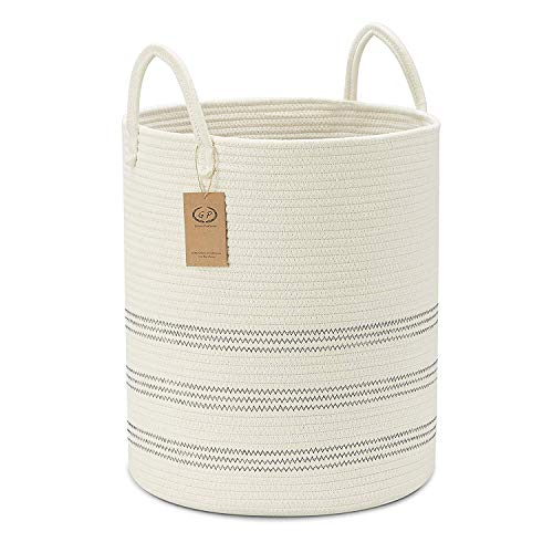 """Extra Large Cotton Rope Basket, 16"""" x 18"""" Tall Blanket Storage Basket with Long Handles, Baby Kids Dogs Toy Bins, Decorative Laundry Basket in Living Laundry Room(Tall(16""""×18""""), Off White/Navy)"""