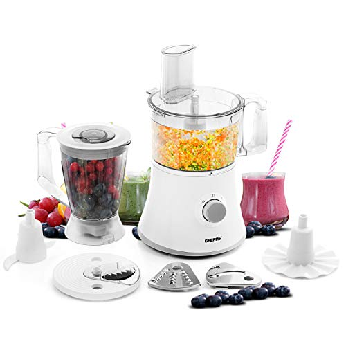 Geepas 500W 10 in 1 Food Processor Blender | Multifunctional Electric Chopper Shredder Grater Slicer & Dough Attachments | 1.2L Capacity 2 Speed & Pulse Control | Pure Copper Motor | 2 Year Warranty