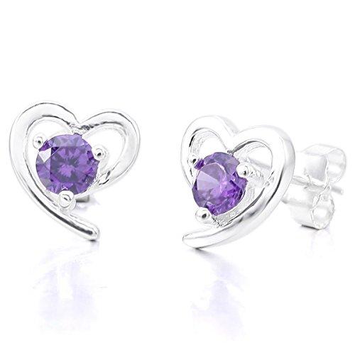 MunkiMix 925 Plata Vidrio Glass Pendientes El Tono De Plata Morado Púrpura Corazón Mujer