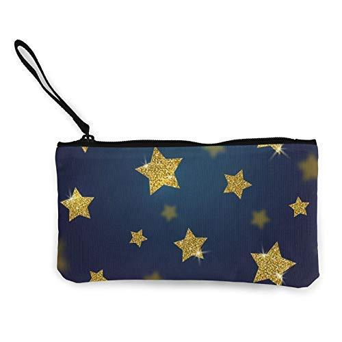XCNGG Geldbörsen Shell Aufbewahrungstasche Glitter Gold Stars Fashion Coin Purse Bag Canvas Small Change Pouch Multi-Functional Cellphone Bag Wallet Cosmetic Makeup Bag