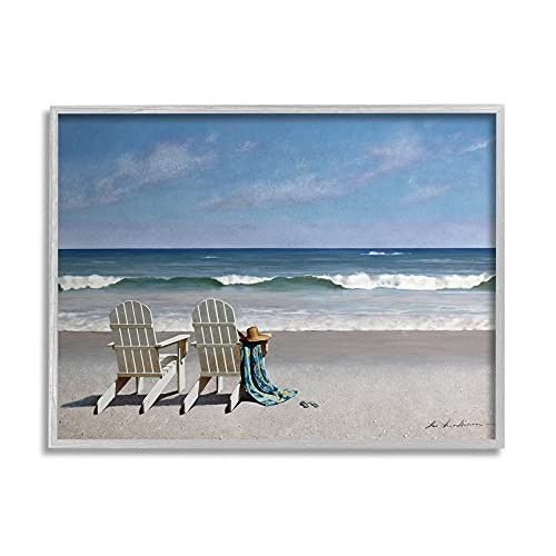 Stupell Industries Two White Adirondack Chairs on The Beach, Design by Zhen-Huan Lu Gray Framed Wall Art, 11 x 14, Blue