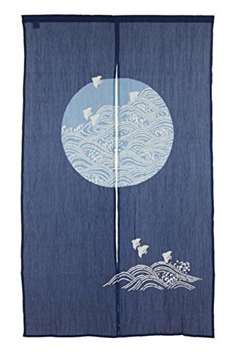 Made in Japan Noren Curtain Tapestry Plovers with Waves