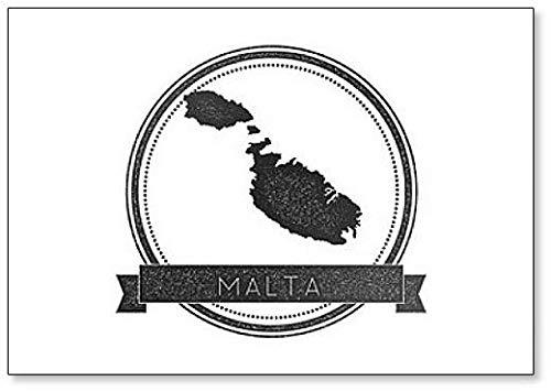 Malta Kaart. Hipster Ronde Badge met Tekst Koelkast Magneet