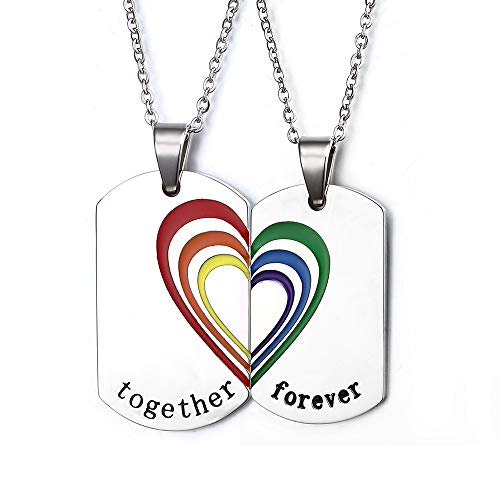 MPRAINBOW Customizable Engraving Couple Matching Lesbian Gay Relationship Rainbow Dog Tag Necklaces for Women Men Adjuatable