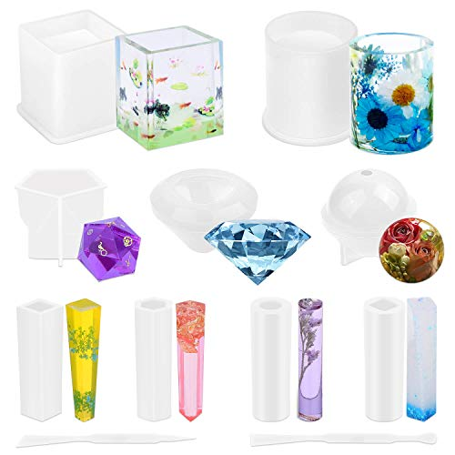 Silicone Resin Molds for Resin, Paxcoo 11Pcs Resin Casting Molds Kit Include Square, Cylinder, Sphere, Diamond, Crystal for Resin Epoxy, Soap, Candles Making