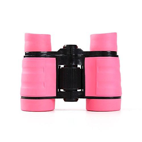 1 prismáticos de goma para juguetes, 4 x 30 mm, ajustables, mini prismáticos ligeros para niños, prismáticos compactos para niños, juguetes telescópicos, juguetes educativos, regalos (rosa)