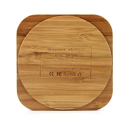 Mandalaa Bamboo Wooden Qi Wireless Charger Charging Pad for Samsung Galaxy S6/ S6 Edge Plus S7/ S7 Edge Note 5 /Note 7 Elephone P9000 Metal Mic Holder