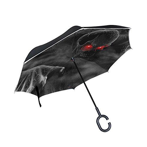 XiangHeFu Paraguas invertido de doble capa invertido, diseño de calaveras en 3D, ojos rojos, plegable, resistente al viento, protección UV, gran recto, para coche con mango en forma de C