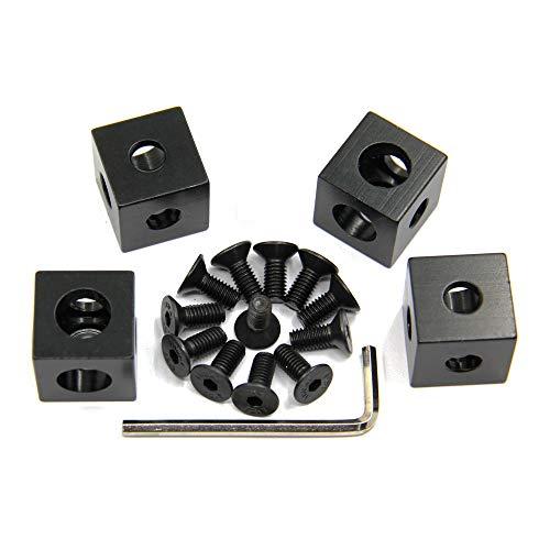 Befenybay Lot de 4 supports d'angle pour profilé d'extrusion en aluminium Noir 20 x 20 x 20 mm