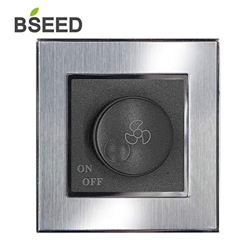 BSEED Regulador De Intensidad Giratorio Interruptor Mecánico De Velocidad De Ventilador De 1 Vía Interruptor Gris Oscuro De Doble Propósito Con Panel De Acero Cepillado