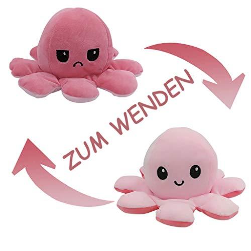 Flyhigh Niedliches Oktopus Plüschtier zum Wenden - Neuster Trend 2021 Reversibles Octupus Spielzeug...