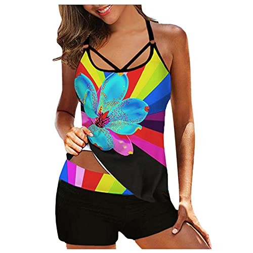 YAOBF Tops Beachwear Bademode für Urlaub Badeanzug Chlorresistent Damen Blaue Bikini Damen Bandeau Badeanzug Damen Hm Bademode (Gelb 2,XL)