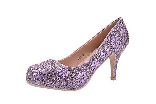 Mila Lady MAYRA06 Prinzessinnen-Glitzer-Strass, formelle Pumps, Hochzeitsschuhe, Abendkleid, Absätze für Frauen, Violett (violett), 35.5 EU