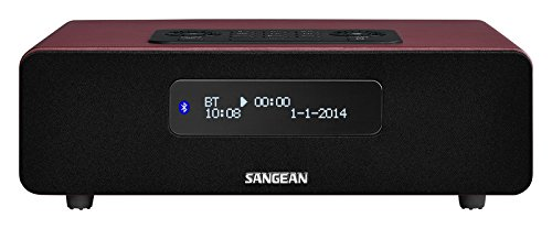 Sangean DDR-36 DAB+ Digitalradio (DAB+/UKW-Tuner, Bluetooth, Weckfunktion, Sleep-Timer, AUX-In) inkl. Fernbedienung burgunderrot