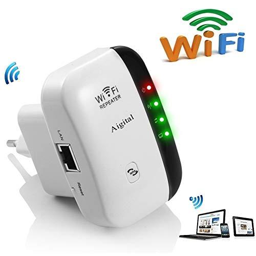 WiFi repetidor Extensor de Red WiFi -300Mbps Mini Wireless Extensor de Rango Inalámbrico Ap Amplificador Enrutador Repeater Booster Wireless 2.4GHz Universal EU Enchufe (N300, Puerto LAN, WPS)