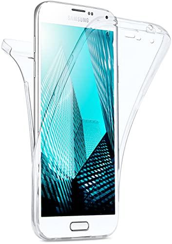 moex Double Hülle für Samsung Galaxy S5 / S5 Neo Hülle Silikon Transparent, 360 Grad Full Body R&um-Schutz, Komplett Schutzhülle beidseitig, Handyhülle vorne & hinten - Klar