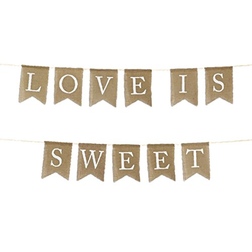 Andaz Press Real Burlap Fabric Pennant Hanging Banner Love is Sweet, Pre-Strung, No Assembly Required, 1-Set, Wedding Dessert Table Supplies Decorations