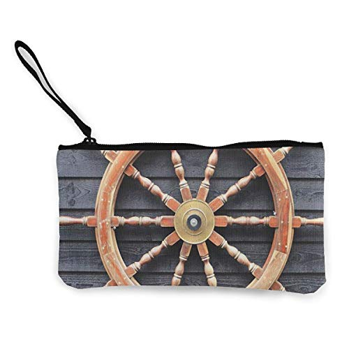 Old Trawler Steering Wheel Captain Women and Girls Cute Fashion Canvas Coin Purse Change Cash Bag Zipper Small Purse Wallets for Keychain Money Travel Pouches