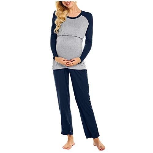 Las mujeres de maternidad de manga larga de enfermería bebé camiseta Tops+pantalones pijama conjunto traje de maternidad pijama conjunto de lactancia materna parte superior y fondos
