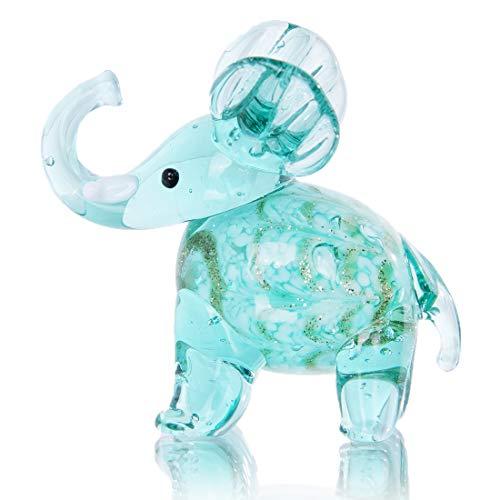 Hand Blown Art Glass Elephant Figurine Miniature Animals Collection(Sky Blue)