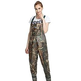 YAANCUN Waders de Pêche Combinaison avec Bottes Plus Epais PVC Imperméable Camouflage Taille 38 à 45