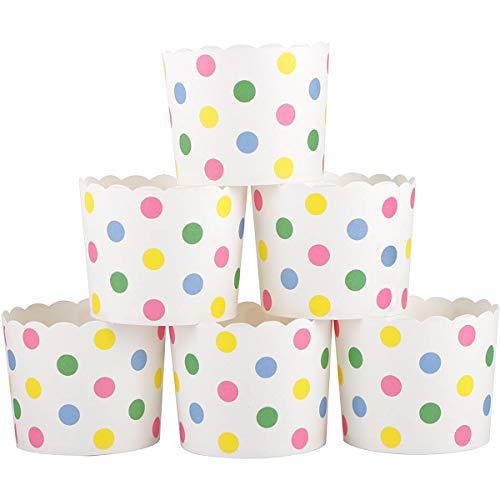 Adornty Taza de Papel de la Torta, 50 Casos de panecillos de Punto Coloridos, no se deforman fácilmente Las Herramientas de horneado de Refuerzo Inferiores, para Hornear Haciendo Varias Pasteles