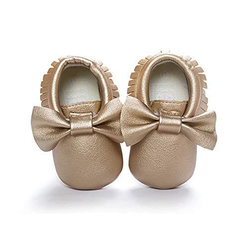 Morbuy Baby Schuhe PU Mädchen und Jungen Kleinkind Babyschuhe Neugeborene Fringed Bogen Anti-Rutsch Weiche Alleinige Krabbelschuhe Wanderer (13cm / 12-18 Monate, Goldener Bogen)