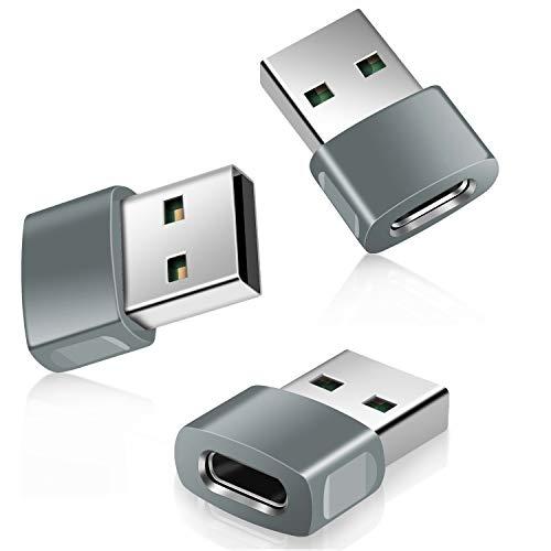 Adaptador USB Tipo C Hembra a USB Macho 3-Paquetes,Aleación Zinc Conector de Cargador USBC a USB para iPhone 11 12 Pro MAX Mini SE 2020,Airpods,iPad 8 Air 4 13,Samsung Galaxy Note 10 20 21 S20 S21 Fe