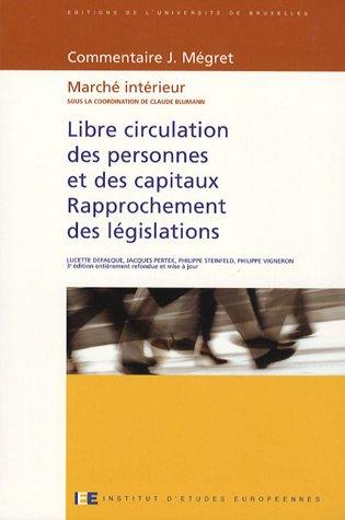 Libre Circulation Des Personnes Et Des Capitaux Rapprochement Des Legislations Marche Interieur