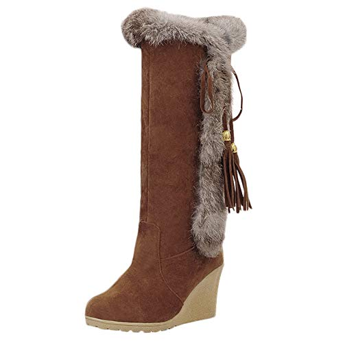 manadlian Botte Talon Compensé Hiver Femme Mi Mollet Talon Boots Plateforme Haut Fourrées Chaussures pour Hiver Chaussures Longue Chaude Bottes de Neige Chaud Fourrure Cheville Bottines