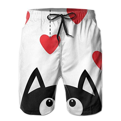 Men's Big and Tall Swim Trunks Beachwear Drawstring Summer Holiday,Monochrome Cat Silhouette Looking at Red Heart Shapes Hanging from The Ceiling,3D Print Shorts Pants,Large