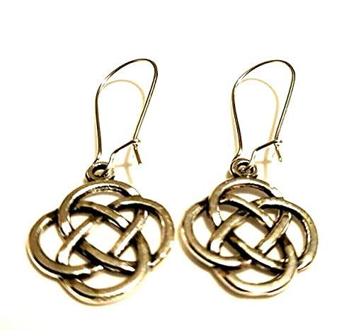 Pendientes de nudo celta en plata chapada en alambre de riñón o ganchos de plata de ley gaélico irlandés escocés wiccan colgantes colgantes