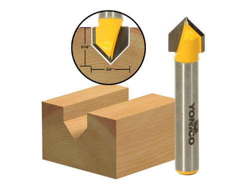 Yonico 14990q 90 Degree X 3/8-Inch Diameter V Groove Router Bit 1/4-Inch Shank