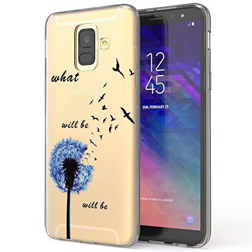 NALIA Custodia compatibile con Samsung Galaxy A6, Cover Protezione Silicone Trasparente Sottile Case, Morbido Gomma Telefono Cellulare Ultra-Slim Protettiva Bumper Guscio, Designs:Dandelion Blu