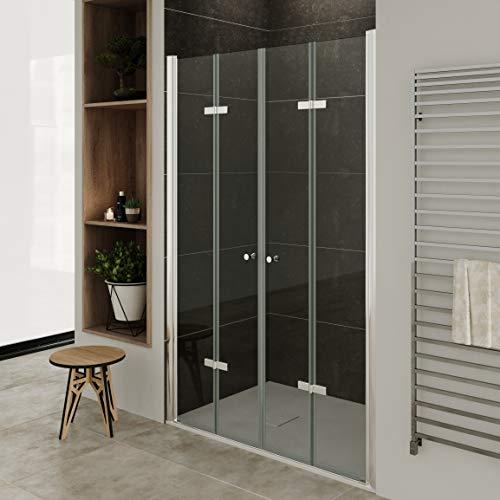 MOG Puerta plegable para mampara de ducha, rango de ajuste de 132-136 cm, altura: 185 cm, puerta de...