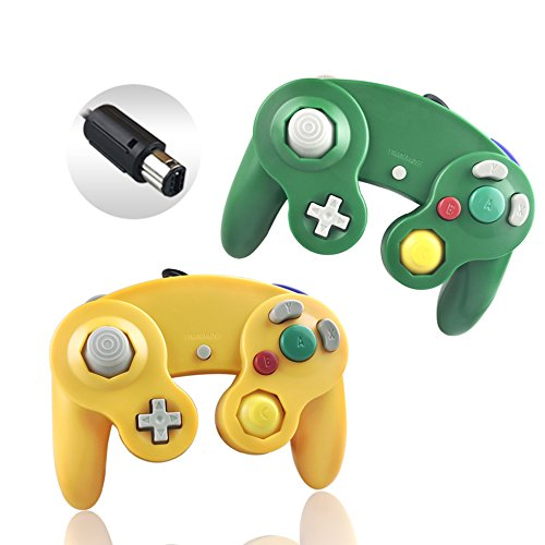 Reiso 2 Packs NGC Controllers Classic Wired Controller for Wii Gamecube (Light Orange and Green)
