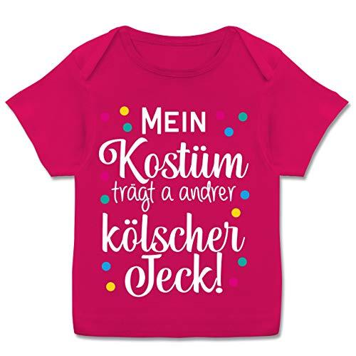 Karneval und Fasching Baby - Mein Kostüm trägt a Anderer kölscher Jeck! -weiß - 56-62 - Fuchsia - T-Shirt - E110B - Kurzarm Baby-Shirt für Jungen und Mädchen