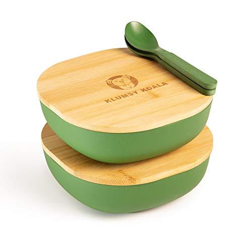 KlumsyKoala 2 Stück Premium Bambusschale (Grün) abgerundet 550 ml I Bambus Servierschüssel Suppenschale Schüssel Holzschale Müslischale Dekoschale Obstschale Salatschüssel Geschirr