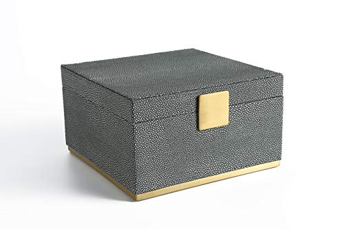 WV Faux Shagreen Leather Dresser Organizer,Night Stand Organizer, Storage Box for Men's Accessories, Women's Cosmetic (Antique Grey, 9.8x9.8 inch)