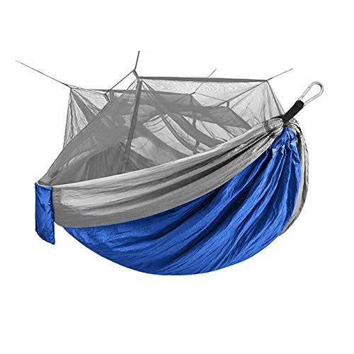 Ai-lir Fácil de Cargar Camping al Aire Libre Whippersnapper Picnic Hamaca con mosquitero 1-2 Persona portátil Mochila Hamaca quiedscence colche Ligero y Duradero (Color : Blue)