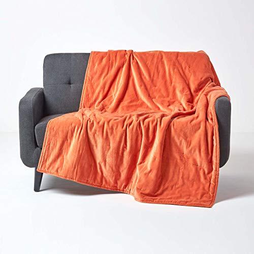 Homescapes knuffelzachte fluwelen sprei/kleed/omkeerbare deken 150 x 200 cm in oranje - 100% katoen en katoenfluweel - ideaal als deken, gezellige deken of bankovertrek, terracotta