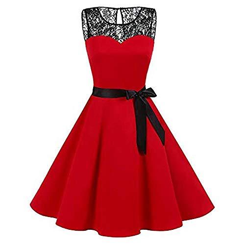 VJGOAL Mujer Primavera y Verano Moda Casual Sin Mangas Lunares Encaje Vintage Hepburn Columpio Cintura Alta Péndulo Grande Vestido Plisado Falda(XX-Large,Rojo)