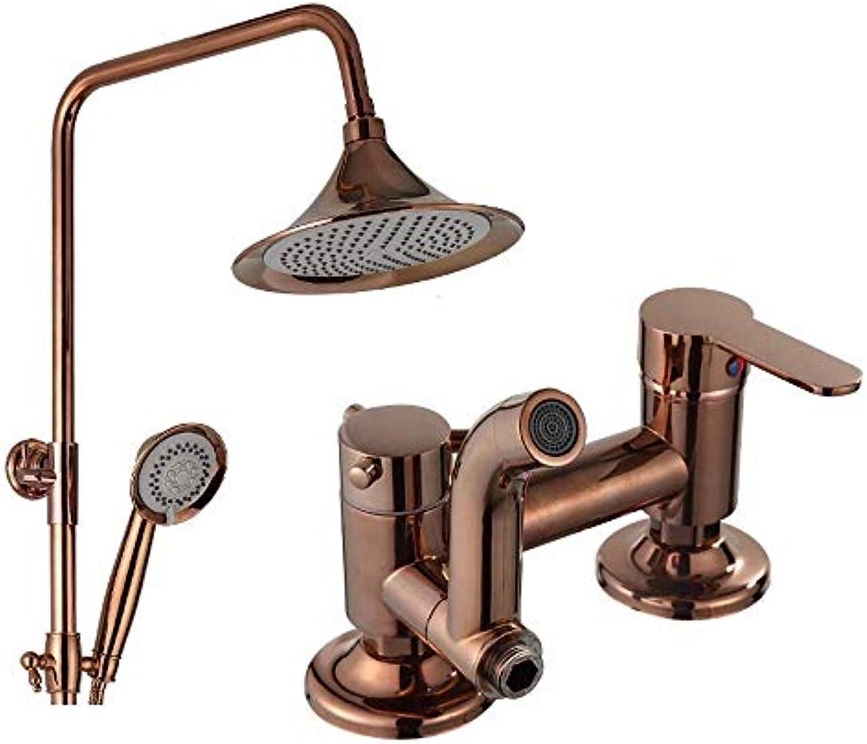 Duschsysteme European Retro Copper Shower Set, Wandbrause Bad Kalt-   Warmwasserhahn, Hebbar drehbar (Farbe  C)