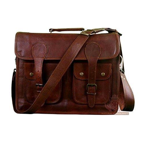 Prastara Laptop Messenger Bag 20' Real Vintage Leather Office Handmade Satchel Brown Leather Shoulder Laptop Bag Briefcase Crossbody College Bag