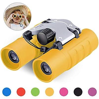 GINMIC Binoculars for Kids, 8 x 21 Real Optics Mini Compact Kids Binoculars with Neck Strap - Waterproof Children's Binoculars for Spy Camping, Bird Watching - Telescope Toys for 3-12 years Boys Girls