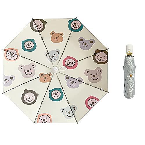 Lvbeis Paraguas Lindo y Creativo Anti-Ultravioleta Paraguas Plegable Completamente Automático Revestimiento de Plata de Titanio Utilizable en Días Soleados y...