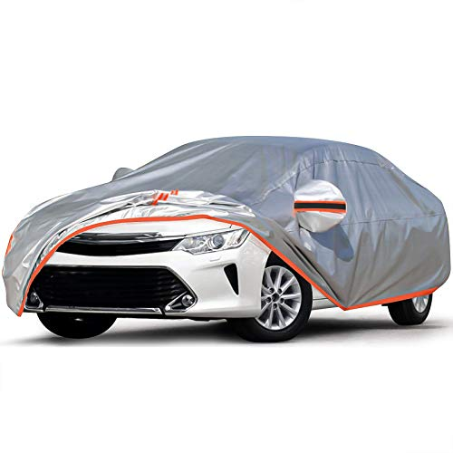 Audew Car Cover Oxford Sedan Car Cover All Weather Protection Waterproof Windproof Snowproof UV Resistant with Adjustable Straps/Reflective Strips Fits Sedan L(180'' to 190'')