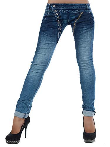 Damen Jeans Hose Boyfriend Damenjeans Harem Baggy Chino Haremshose L368, Farbe: Blau, Größe: 42