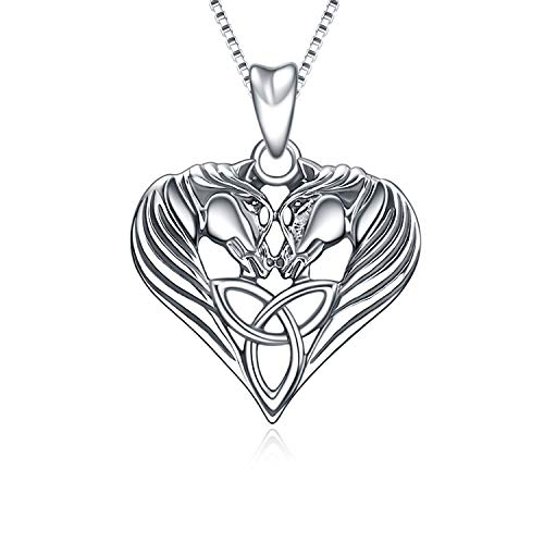 Horse Necklace Sterling Silver Celtic Knot Love Heart Horse Head Pendant Necklace Jewelry Gifts for Women Girls, 18' (Oxidized)