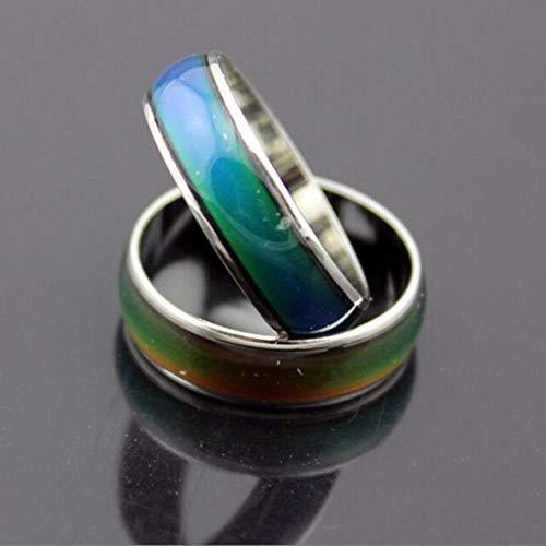 MUATE Edelstahl Ring Farbe ändern Stimmungsringe Gefühl/Emotion Temperatur Ring Breite 6mm Schmuck, 7